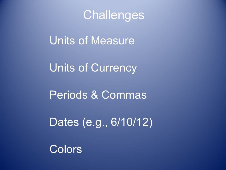 Units of Measure Units of Currency Periods & Commas Dates (e.g., 6/10/12) Colors Challenges