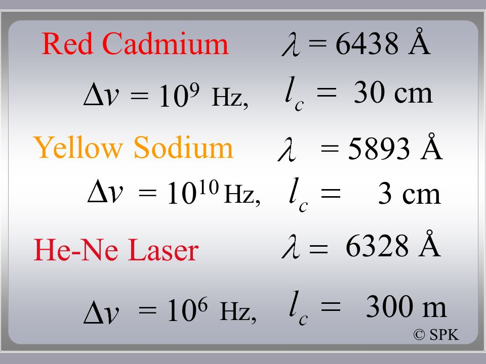 Red Cadmium= 6438 Å = Hz, 30 cm Yellow Sodium = cm = 5893 Å He-Ne Laser 6328 Å 300 m = 10 6 Hz, © SPK