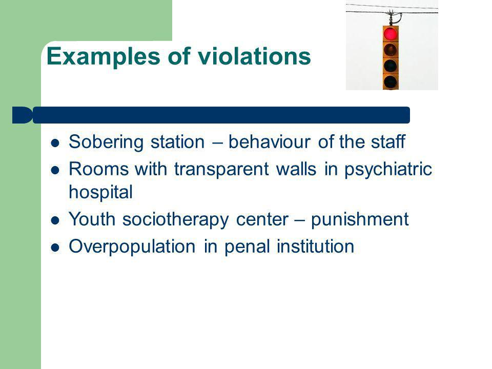 Examples of violations Sobering station – behaviour of the staff Rooms with transparent walls in psychiatric hospital Youth sociotherapy center – punishment Overpopulation in penal institution