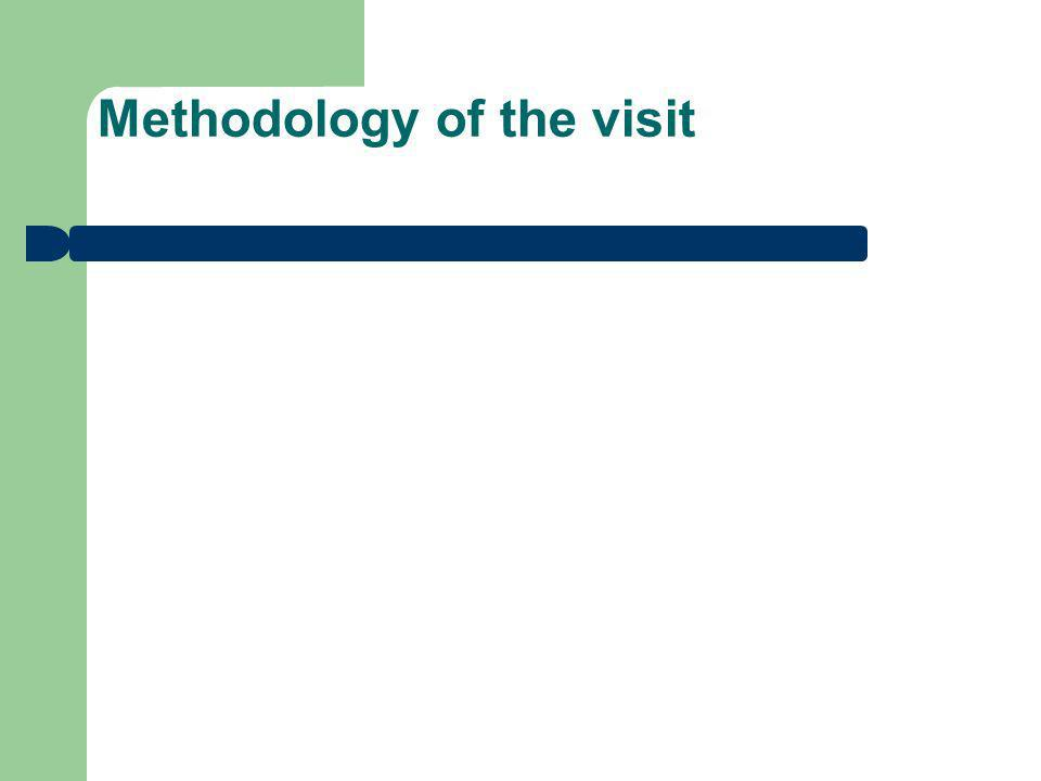 Methodology of the visit