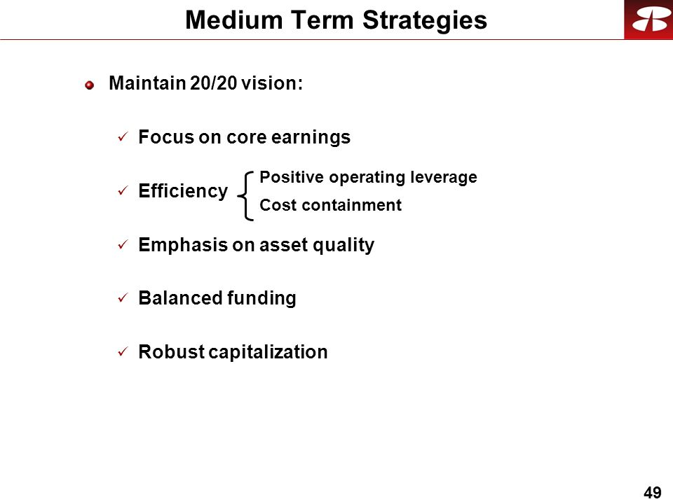 49 Medium Term Strategies Maintain 20/20 vision: Focus on core earnings Efficiency Emphasis on asset quality Balanced funding Robust capitalization Positive operating leverage Cost containment