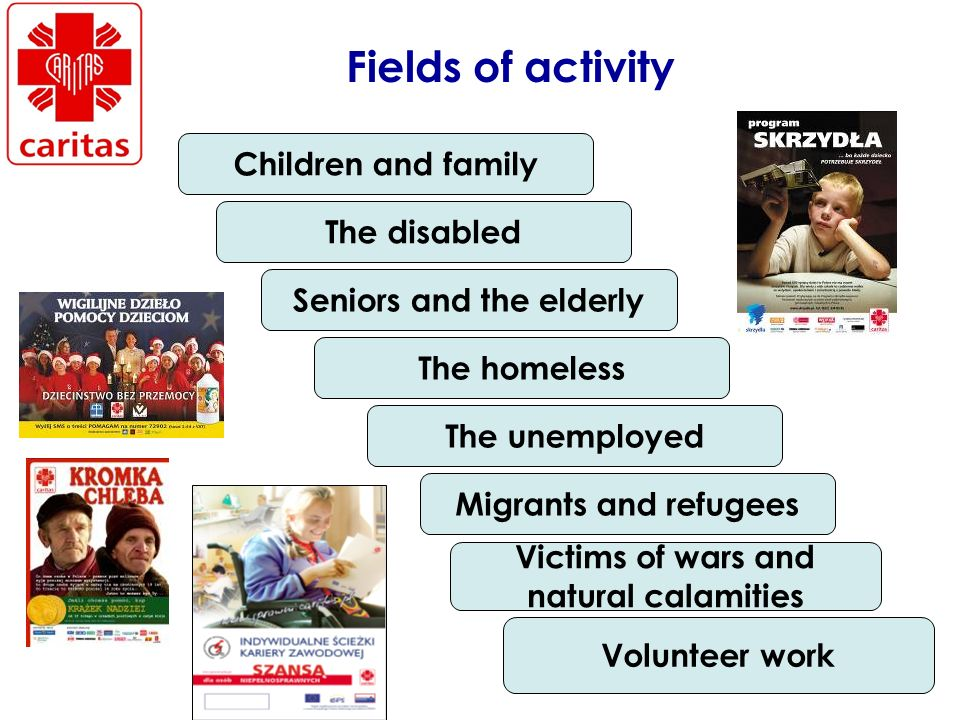 Fields of activity Children and family The disabled Seniors and the elderly The homeless The unemployed Migrants and refugees Victims of wars and natural calamities Volunteer work