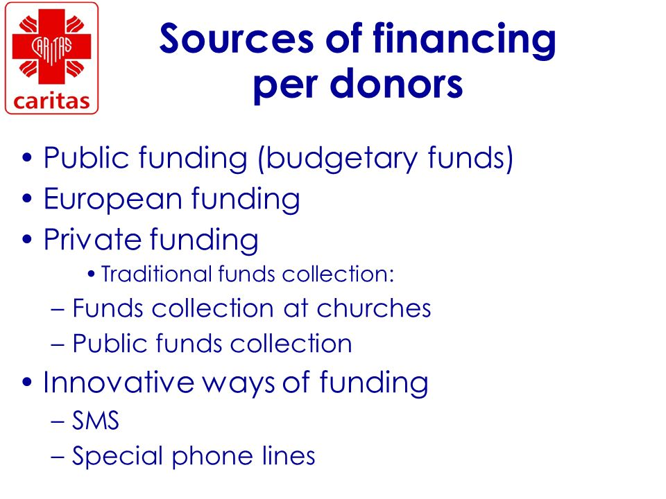 Sources of financing per donors Public funding (budgetary funds) European funding Private funding Traditional funds collection: –Funds collection at churches –Public funds collection Innovative ways of funding –SMS –Special phone lines