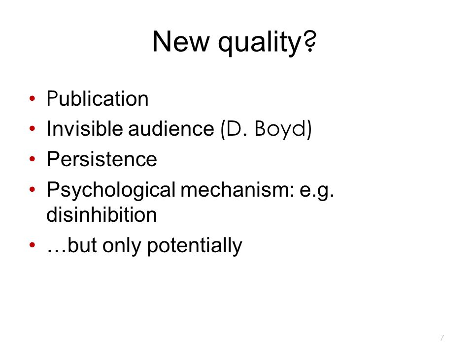 New quality . P ublication Invisible audience (D.
