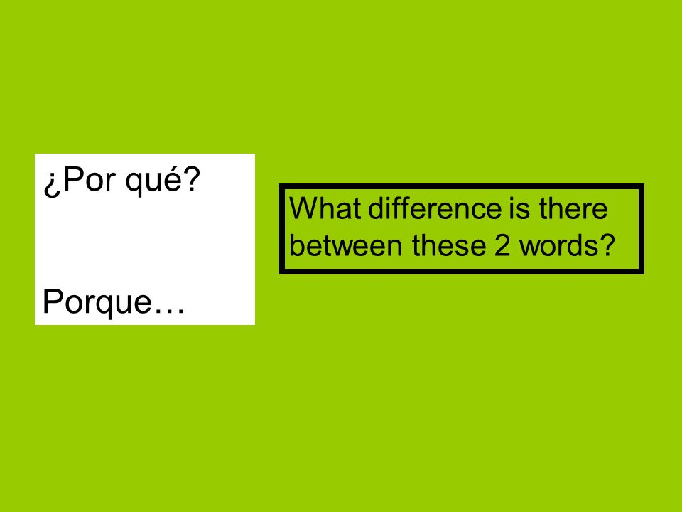 ¿Por qué Porque… What difference is there between these 2 words
