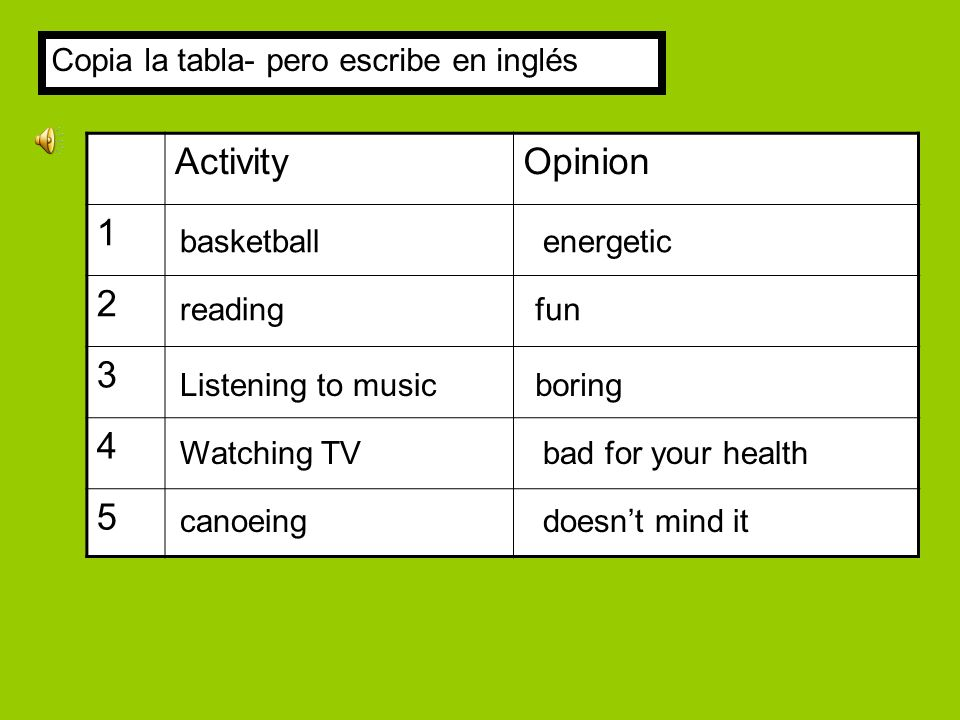 ActivityOpinion 1 2 3 4 5 boring energetic readingfun Listening to music basketball Watching TVbad for your health canoeingdoesnt mind it Copia la tabla- pero escribe en inglés