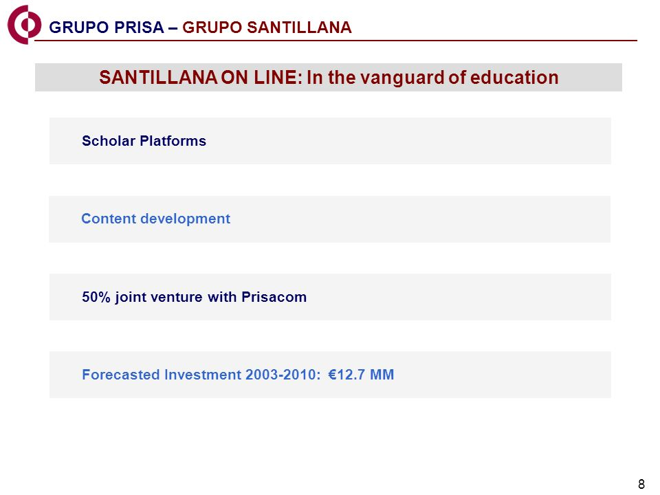 8 GRUPO PRISA – GRUPO SANTILLANA SANTILLANA ON LINE: In the vanguard of education Scholar Platforms Content development 50% joint venture with Prisacom Forecasted Investment 2003-2010: 12.7 MM