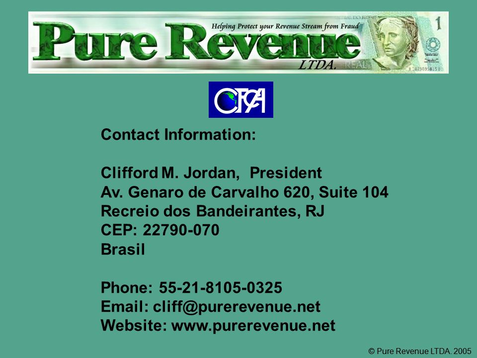 Contact Information: Clifford M. Jordan, President Av.
