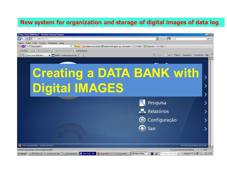 New system for organization and storage of digital images of data log Creating a DATA BANK with Digital IMAGES