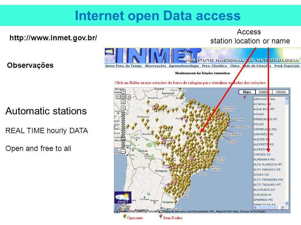 Access station location or name Internet open Data access   Observações Automatic stations REAL TIME hourly DATA Open and free to all