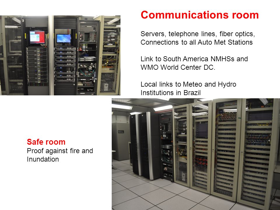 Communications room Servers, telephone lines, fiber optics, Connections to all Auto Met Stations Link to South America NMHSs and WMO World Center DC.
