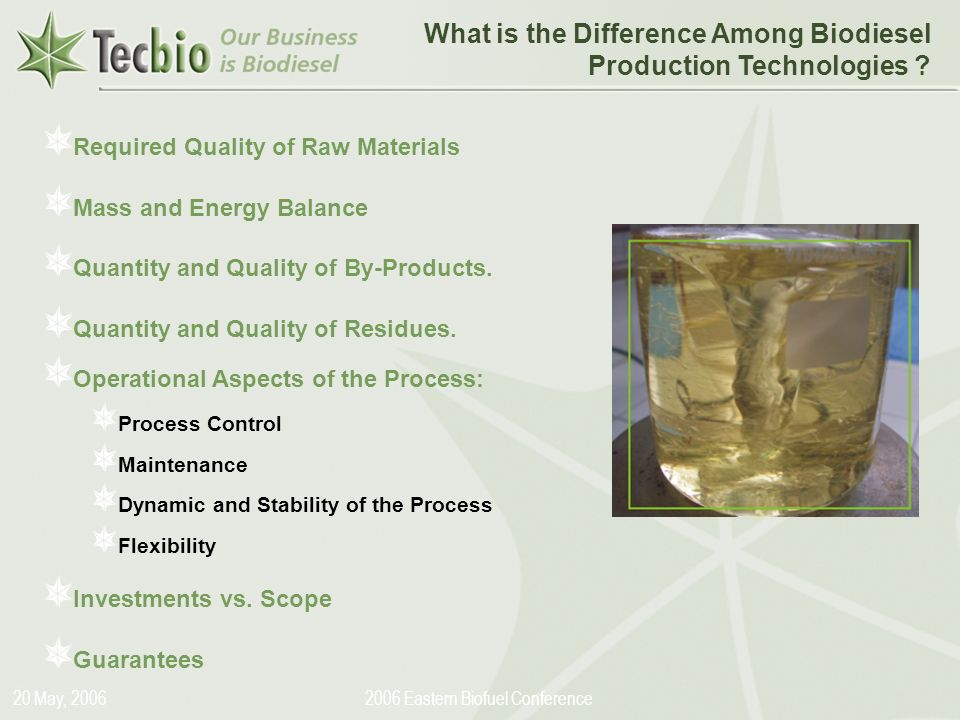 Biodiesel in the Plural 20 May, Eastern Biofuel Conference What is the Difference Among Biodiesel Production Technologies .