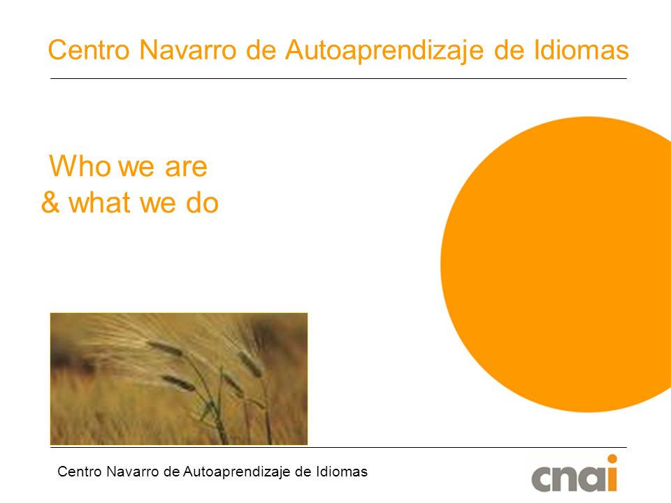 Centro Navarro de Autoaprendizaje de Idiomas Who we are & what we do