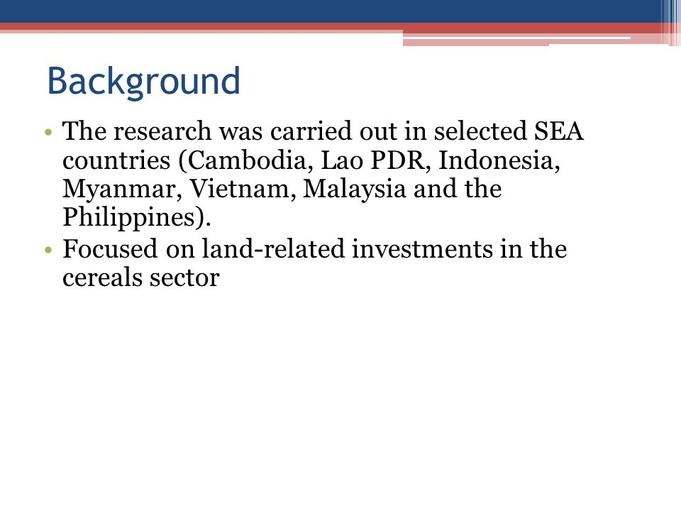 Background The research was carried out in selected SEA countries (Cambodia, Lao PDR, Indonesia, Myanmar, Vietnam, Malaysia and the Philippines).
