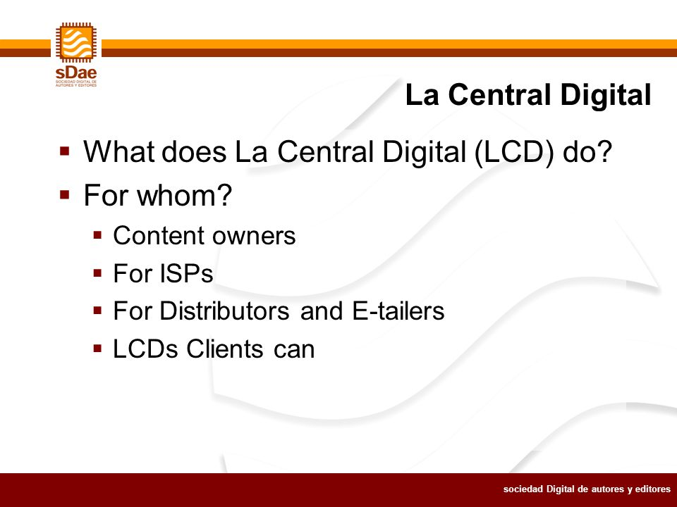 sociedad Digital de autores y editores What does La Central Digital (LCD) do.