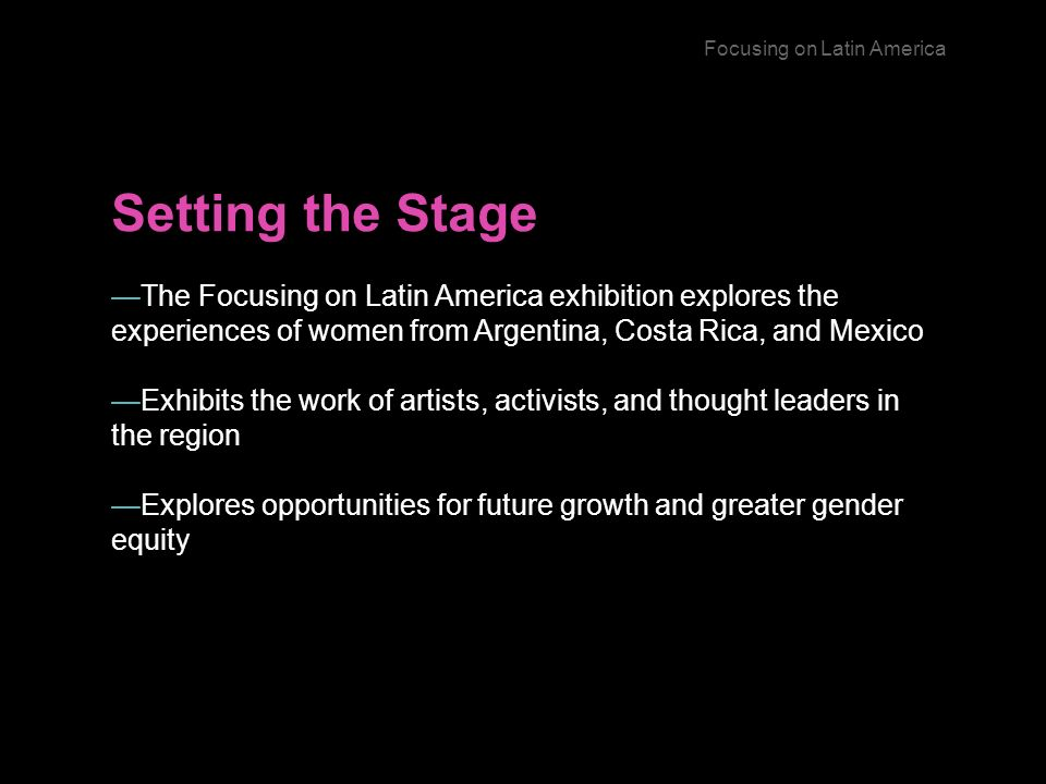 Setting the Stage The Focusing on Latin America exhibition explores the experiences of women from Argentina, Costa Rica, and Mexico Exhibits the work of artists, activists, and thought leaders in the region Explores opportunities for future growth and greater gender equity Focusing on Latin America