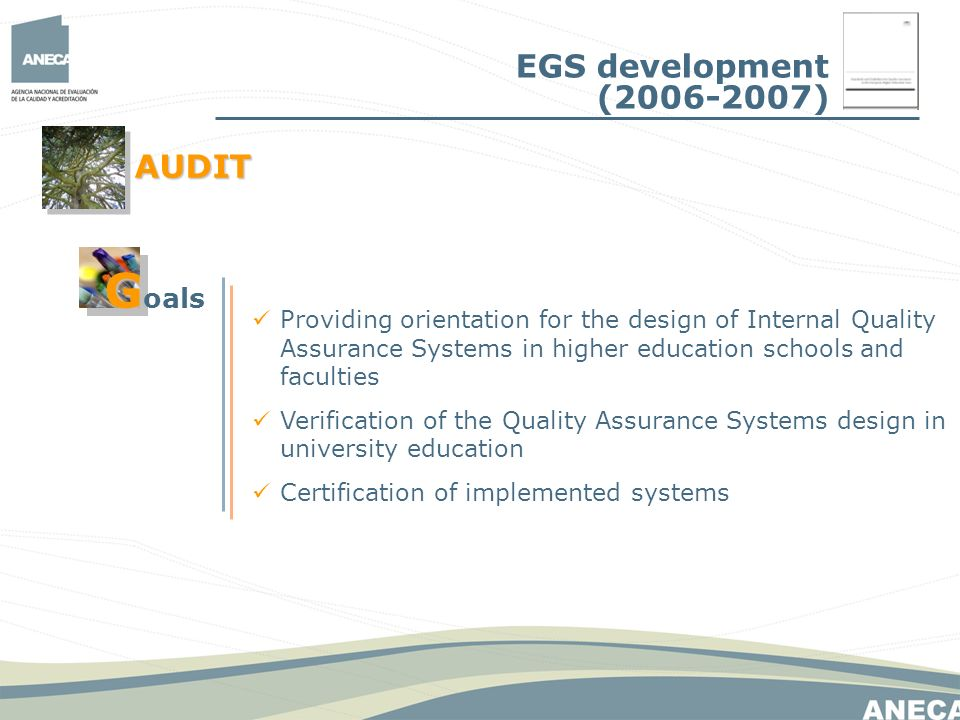 Providing orientation for the design of Internal Quality Assurance Systems in higher education schools and faculties Verification of the Quality Assurance Systems design in university education Certification of implemented systems EGS development ( ) AUDIT G G oals