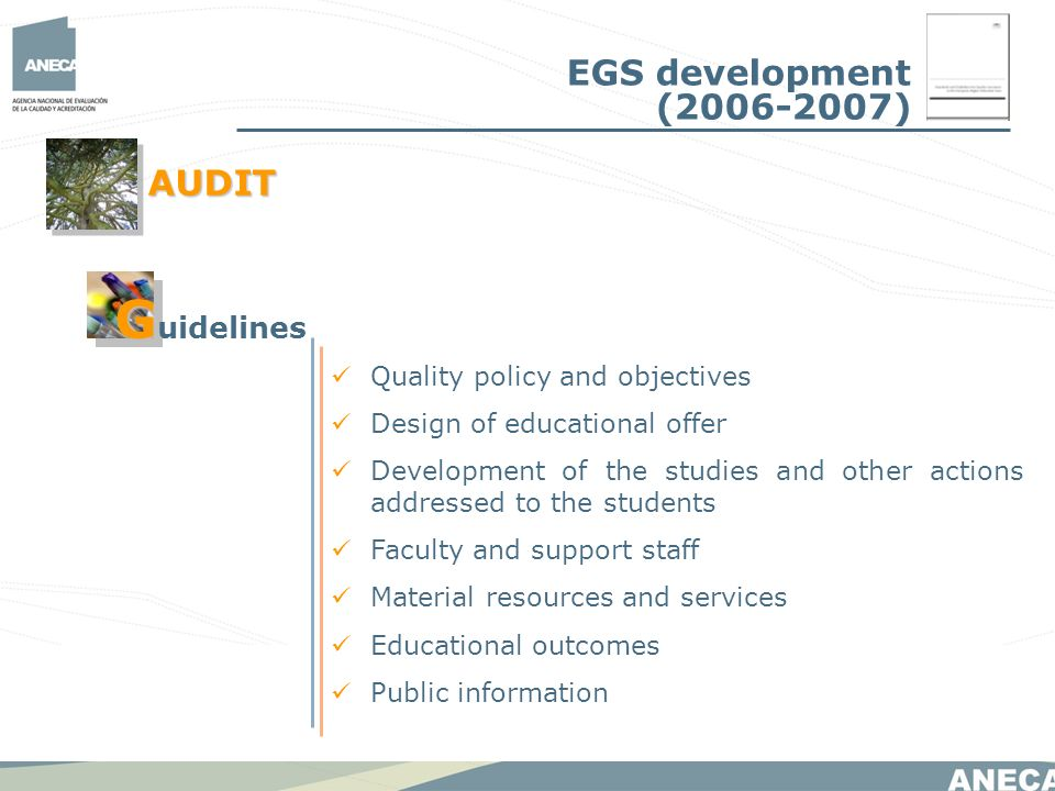 Quality policy and objectives Design of educational offer Development of the studies and other actions addressed to the students Faculty and support staff Material resources and services Educational outcomes Public information AUDIT G G uidelines EGS development ( )