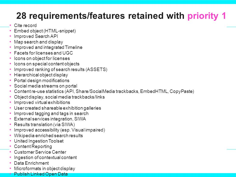 28 requirements/features retained with priority 1 Cite record Embed object (HTML-snippet) Improved Search API Map search and display Improved and integrated Timeline Facets for licenses and UGC Icons on object for licenses Icons on special content objects Improved ranking of search results (ASSETS) Hierarchical object display Portal design modifications Social media streams on portal Content re-use statistics (API, Share/SocialMedia trackbacks, EmbedHTML, CopyPaste) Object display, social media trackbacks/links Improved virtual exhibitions User created shareable exhibition galleries Improved tagging and tags in search External services integration, SIWA Results translation (via SIWA) Improved accessibility (esp.