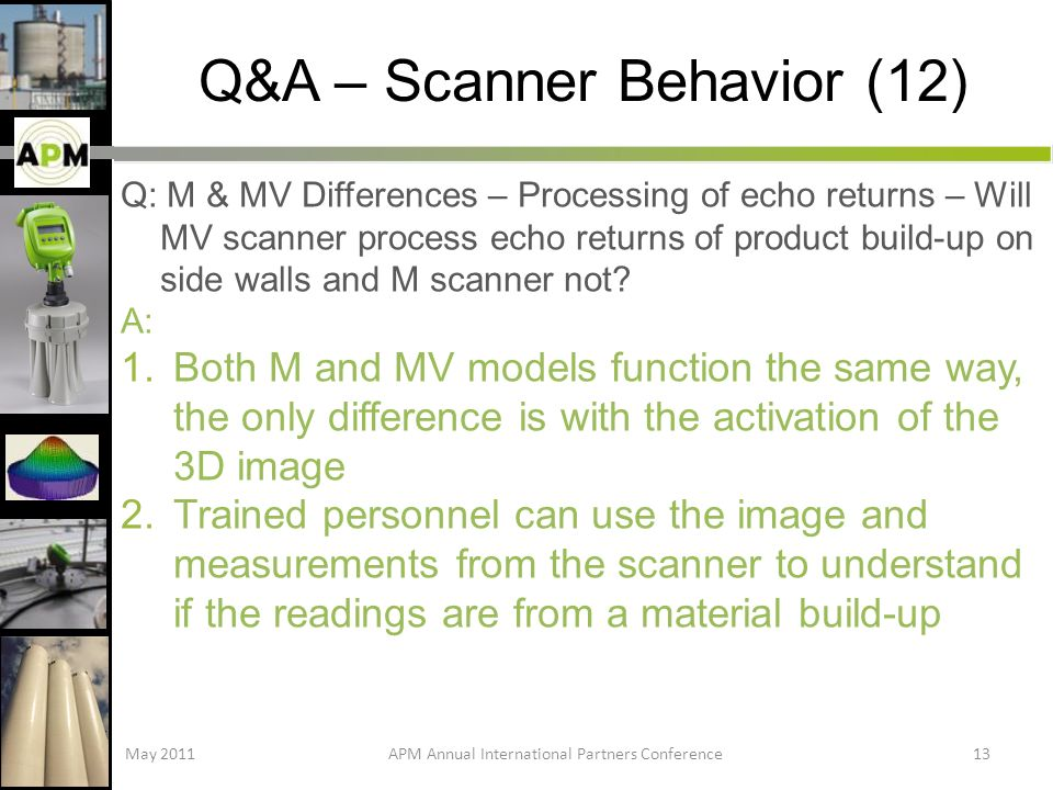 Q&A – Scanner Behavior (12) Q: M & MV Differences – Processing of echo returns – Will MV scanner process echo returns of product build-up on side walls and M scanner not.