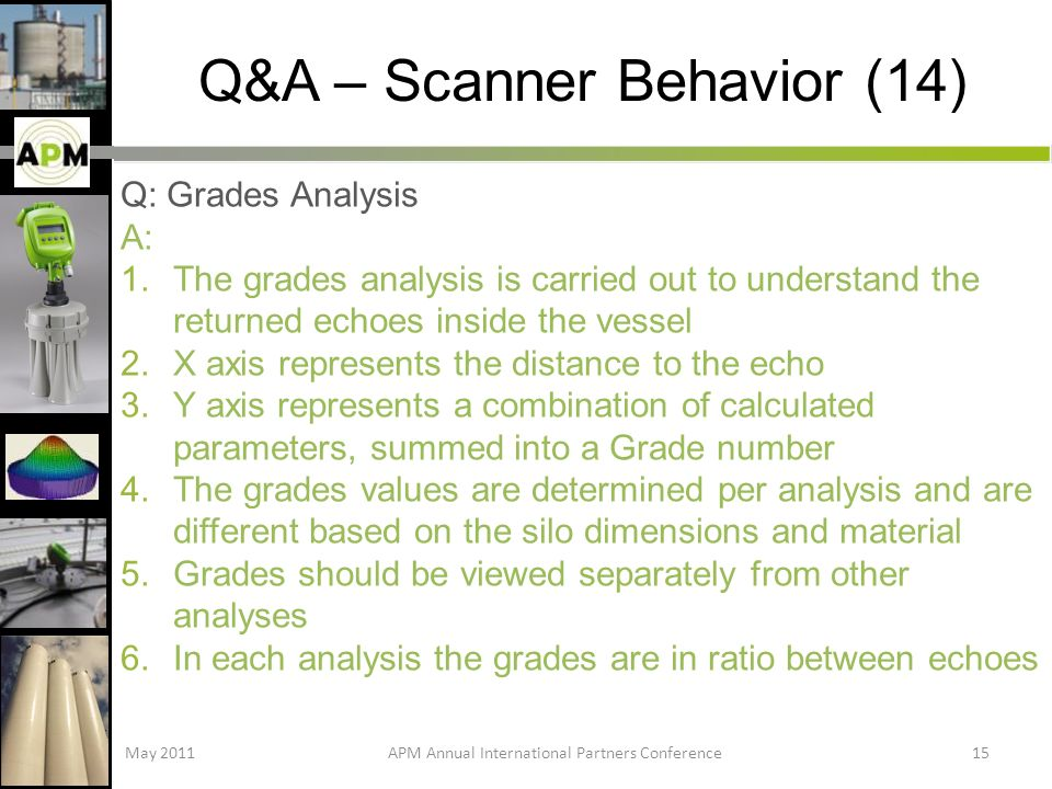 Q&A – Scanner Behavior (14) Q: Grades Analysis A: 1.The grades analysis is carried out to understand the returned echoes inside the vessel 2.X axis represents the distance to the echo 3.Y axis represents a combination of calculated parameters, summed into a Grade number 4.The grades values are determined per analysis and are different based on the silo dimensions and material 5.Grades should be viewed separately from other analyses 6.In each analysis the grades are in ratio between echoes May 2011APM Annual International Partners Conference15