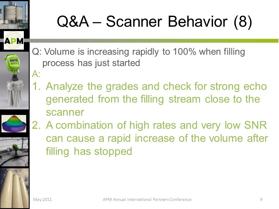 Q&A – Scanner Behavior (8) Q: Volume is increasing rapidly to 100% when filling process has just started A: 1.Analyze the grades and check for strong echo generated from the filling stream close to the scanner 2.A combination of high rates and very low SNR can cause a rapid increase of the volume after filling has stopped May 2011APM Annual International Partners Conference9