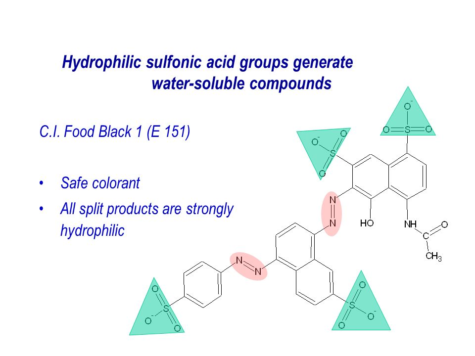 Hydrophilic sulfonic acid groups generate water-soluble compounds C.I.