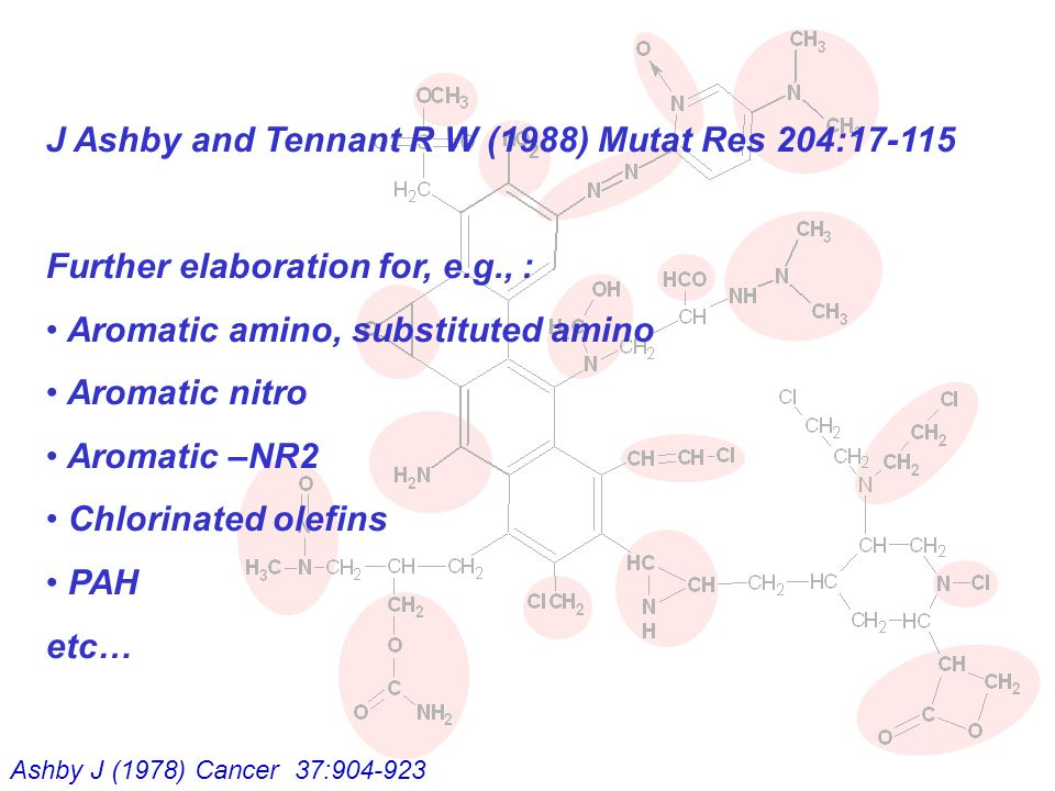 J Ashby and Tennant R W (1988) Mutat Res 204: Further elaboration for, e.g., : Aromatic amino, substituted amino Aromatic nitro Aromatic –NR2 Chlorinated olefins PAH etc… Ashby J (1978) Cancer 37: