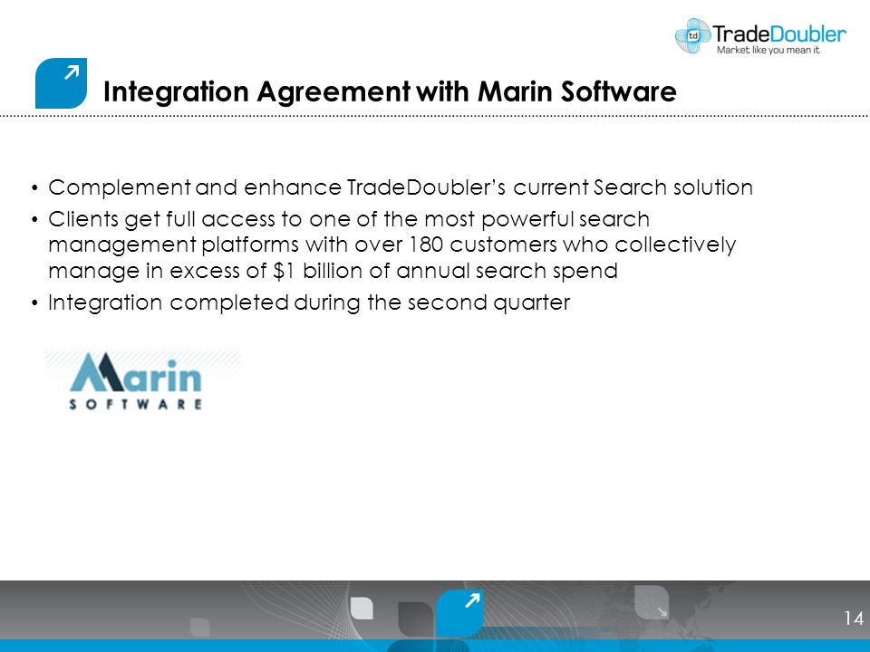Integration Agreement with Marin Software Complement and enhance TradeDoublers current Search solution Clients get full access to one of the most powerful search management platforms with over 180 customers who collectively manage in excess of $1 billion of annual search spend Integration completed during the second quarter 14