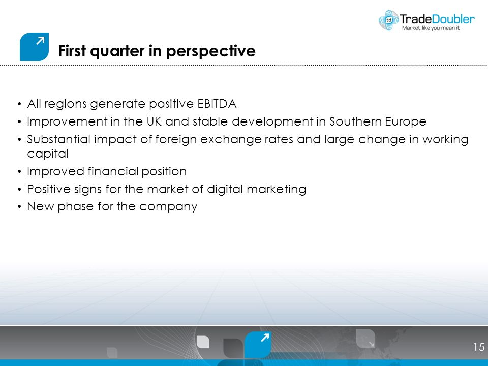 First quarter in perspective All regions generate positive EBITDA Improvement in the UK and stable development in Southern Europe Substantial impact of foreign exchange rates and large change in working capital Improved financial position Positive signs for the market of digital marketing New phase for the company 15
