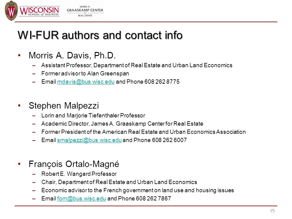 WI-FUR authors and contact info Morris A. Davis, Ph.D.