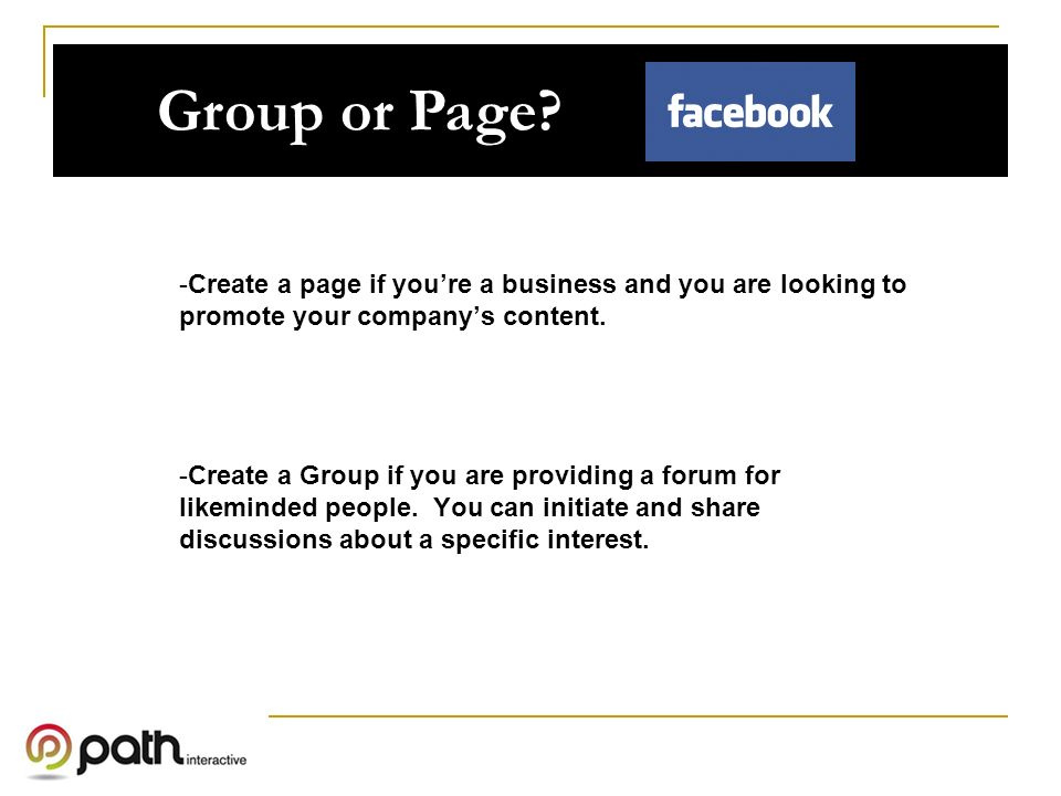 Group or Page.