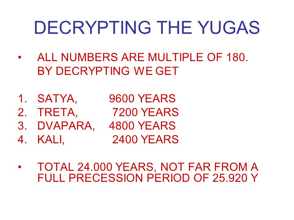 DECRYPTING THE YUGAS ALL NUMBERS ARE MULTIPLE OF 180.