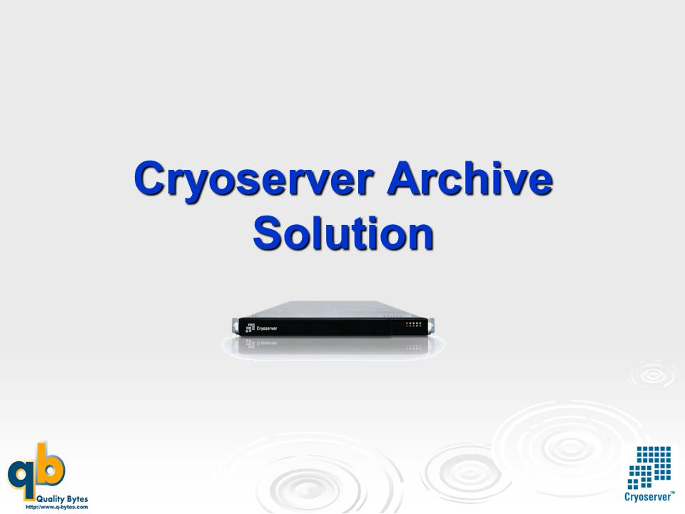 Cryoserver Archive Solution