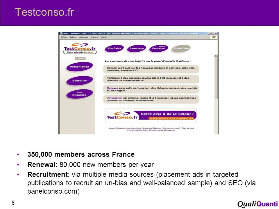 Testconso.fr 8 350,000 members across France Renewal: 80,000 new members per year Recruitment: via multiple media sources (placement ads in targeted publications to recruit an un-bias and well-balanced sample) and SEO (via panelconso.com)