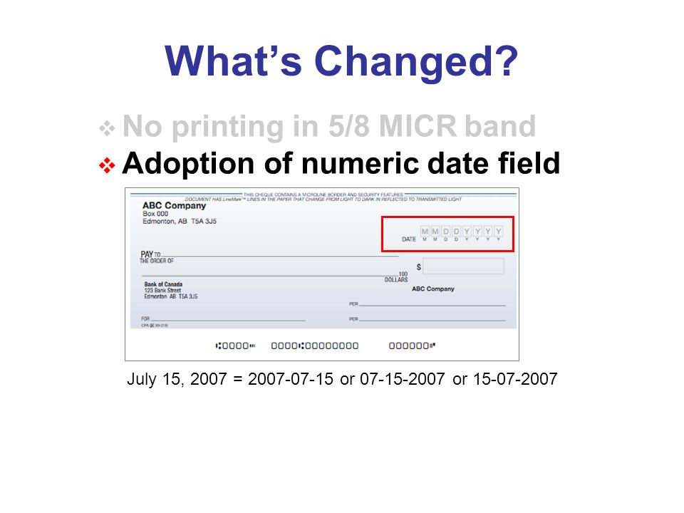 Adoption of numeric date field July 15, 2007 = or or Whats Changed