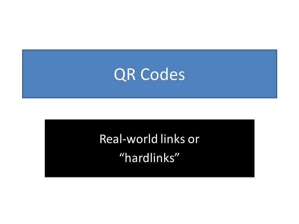 QR Codes Real-world links or hardlinks Real-world links or hardlinks