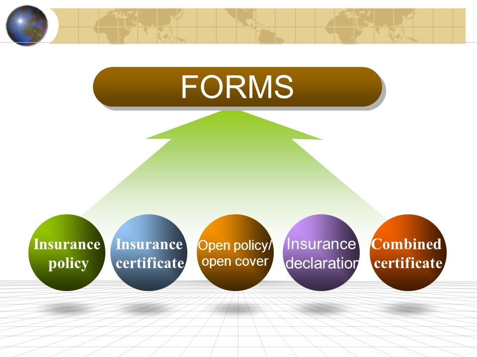 FORMS Insurance policy Open policy/ open cover Insurance certificate Insurance declaration Combined certificate