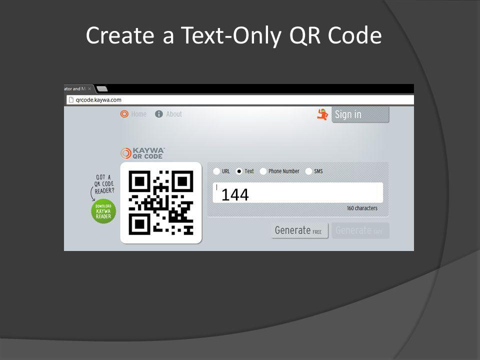 144 Create a Text-Only QR Code