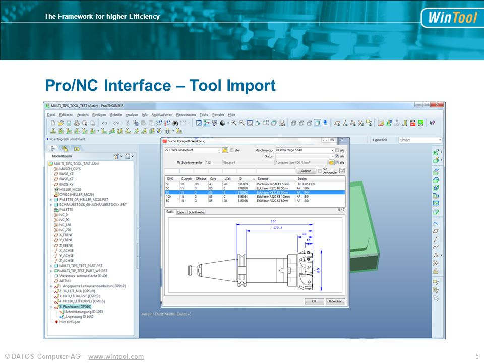 5© DATOS Computer AG –   The Framework for higher Efficiency Pro/NC Interface – Tool Import