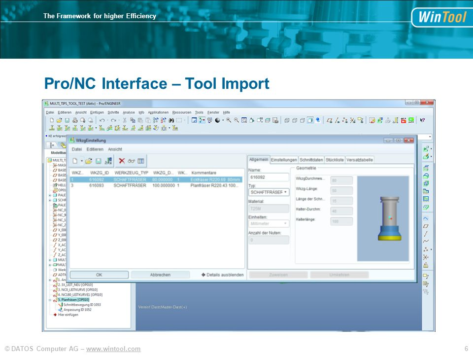 6© DATOS Computer AG –   The Framework for higher Efficiency Pro/NC Interface – Tool Import