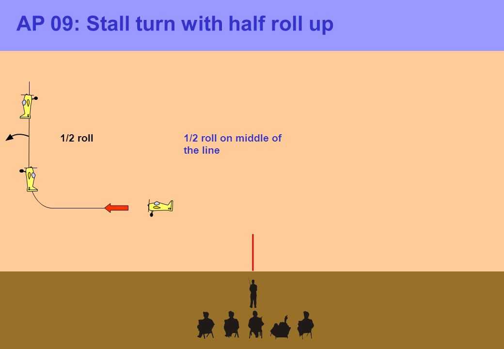 AP 09: Stall turn with half roll up 1/2 roll on middle of the line 1/2 roll