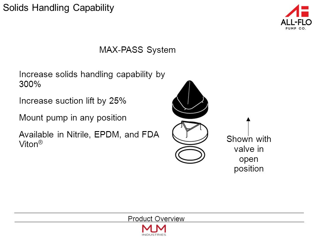 Solids Handling Capability Increase solids handling capability by 300% Increase suction lift by 25% Mount pump in any position Available in Nitrile, EPDM, and FDA Viton ® Shown with valve in open position MAX-PASS System Product Overview