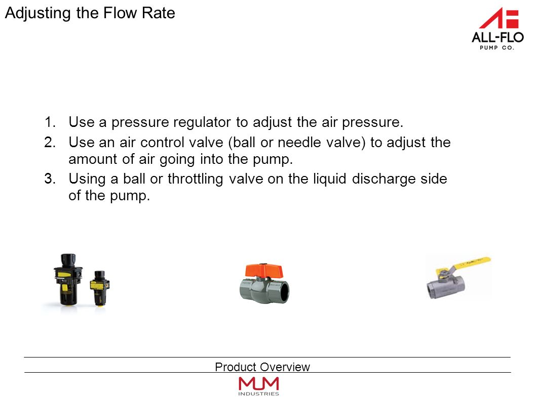 Adjusting the Flow Rate 1.Use a pressure regulator to adjust the air pressure.