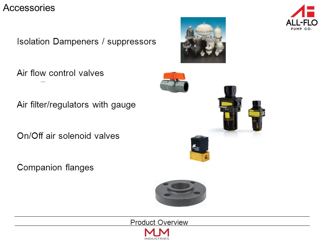 Accessories Isolation Dampeners / suppressors Air flow control valves Air filter/regulators with gauge On/Off air solenoid valves Companion flanges Product Overview