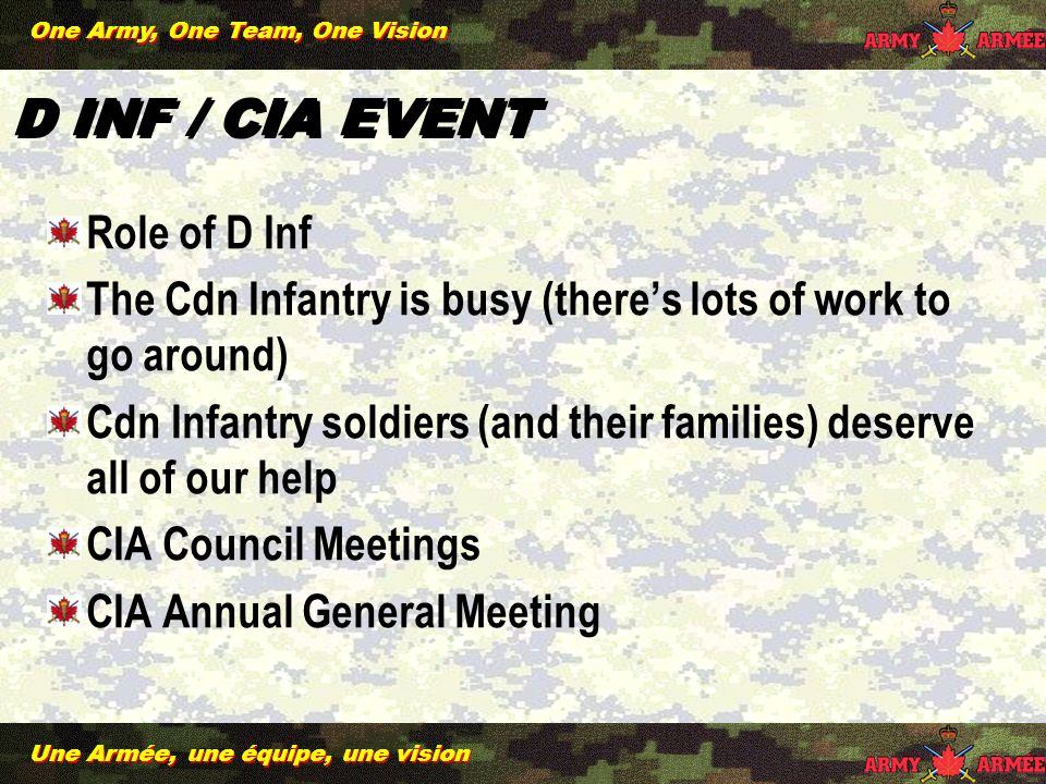 Une Armée, une équipe, une vision One Army, One Team, One Vision D INF / CIA EVENT Role of D Inf The Cdn Infantry is busy (theres lots of work to go around) Cdn Infantry soldiers (and their families) deserve all of our help CIA Council Meetings CIA Annual General Meeting