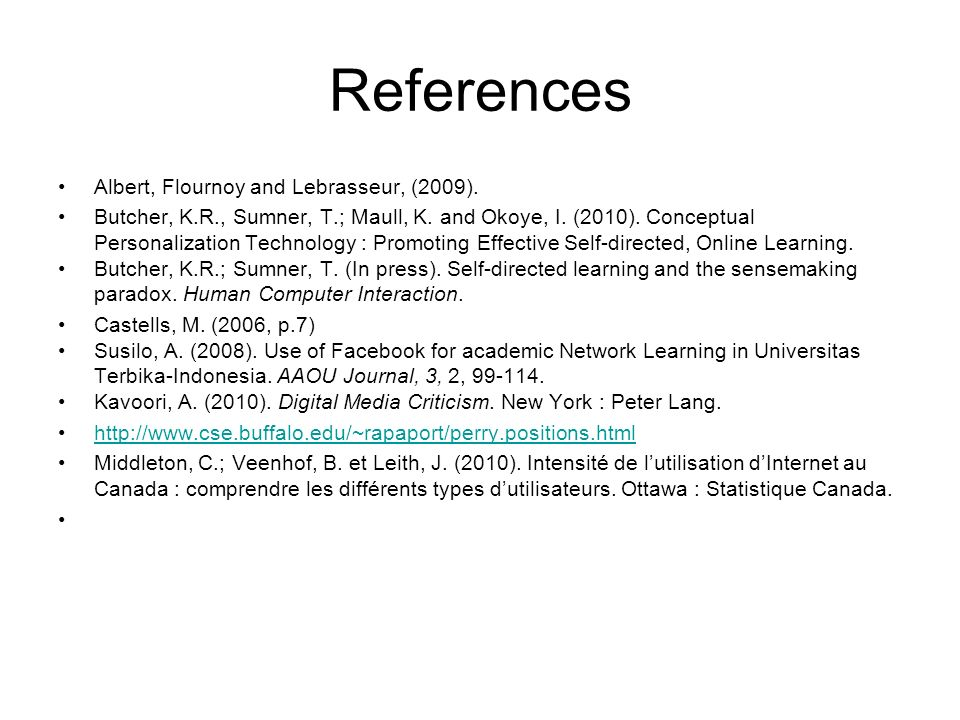 References Albert, Flournoy and Lebrasseur, (2009).