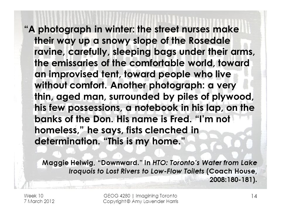A photograph in winter: the street nurses make their way up a snowy slope of the Rosedale ravine, carefully, sleeping bags under their arms, the emissaries of the comfortable world, toward an improvised tent, toward people who live without comfort.