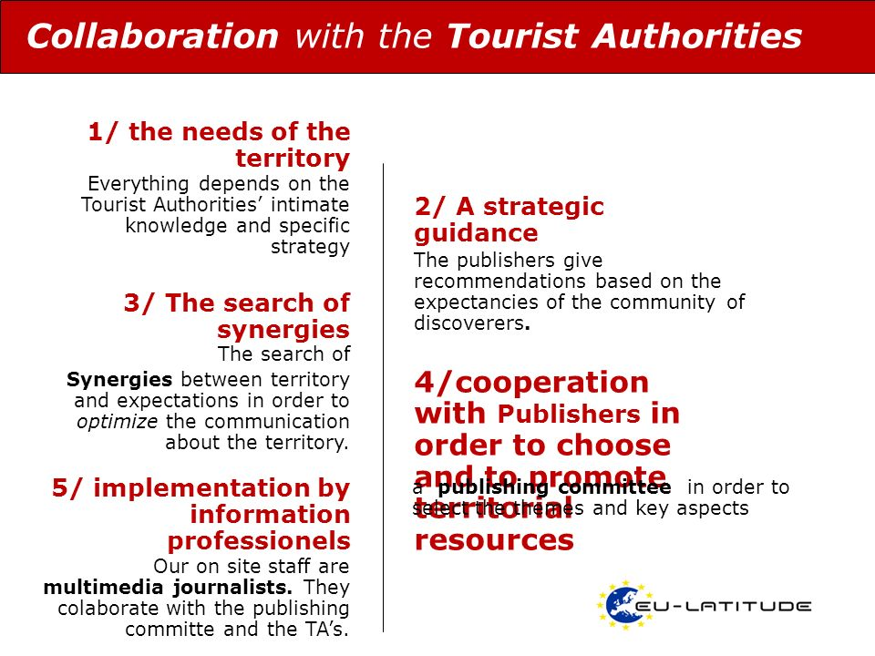 3/ The search of synergies Collaboration with the Tourist Authorities The search of Synergies between territory and expectations in order to optimize the communication about the territory.