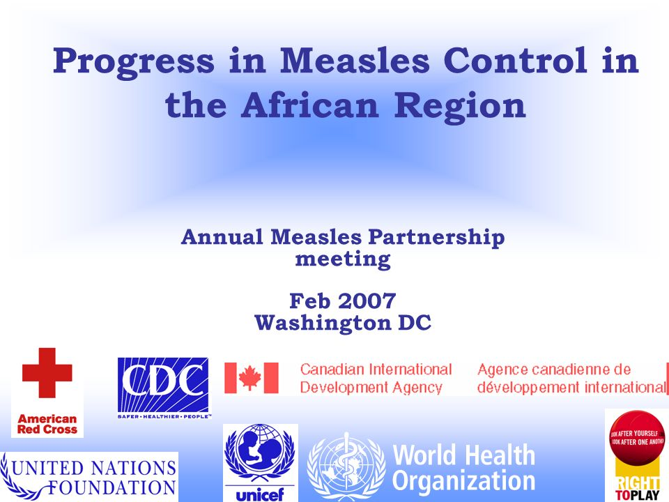 Progress in Measles Control in the African Region Annual Measles Partnership meeting Feb 2007 Washington DC